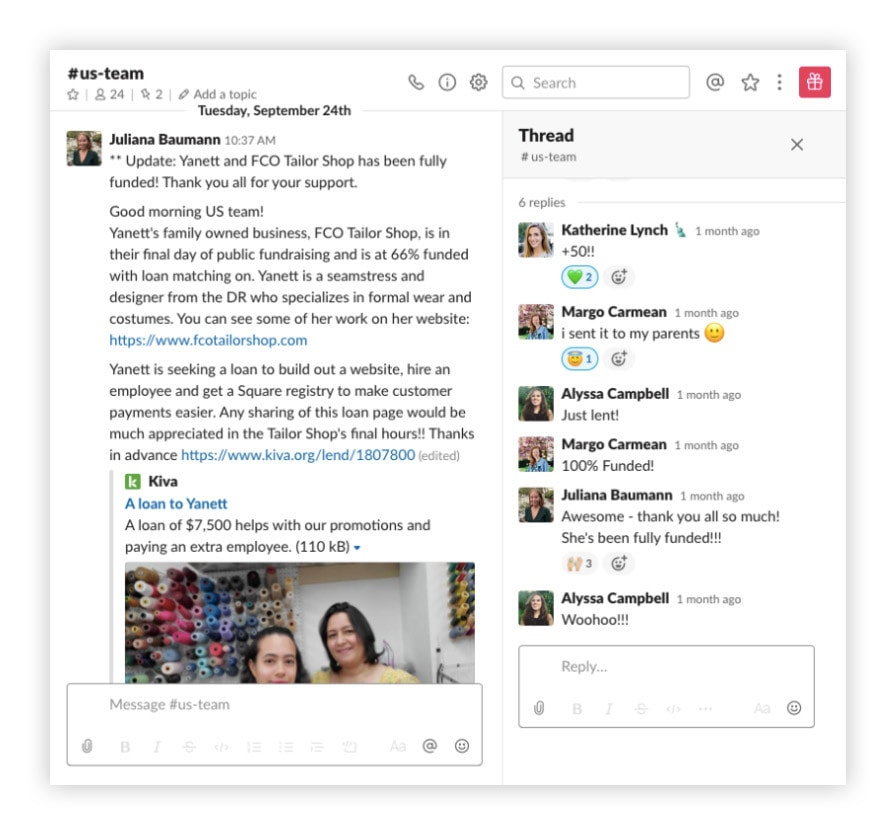 Kiva Slack customer story channel