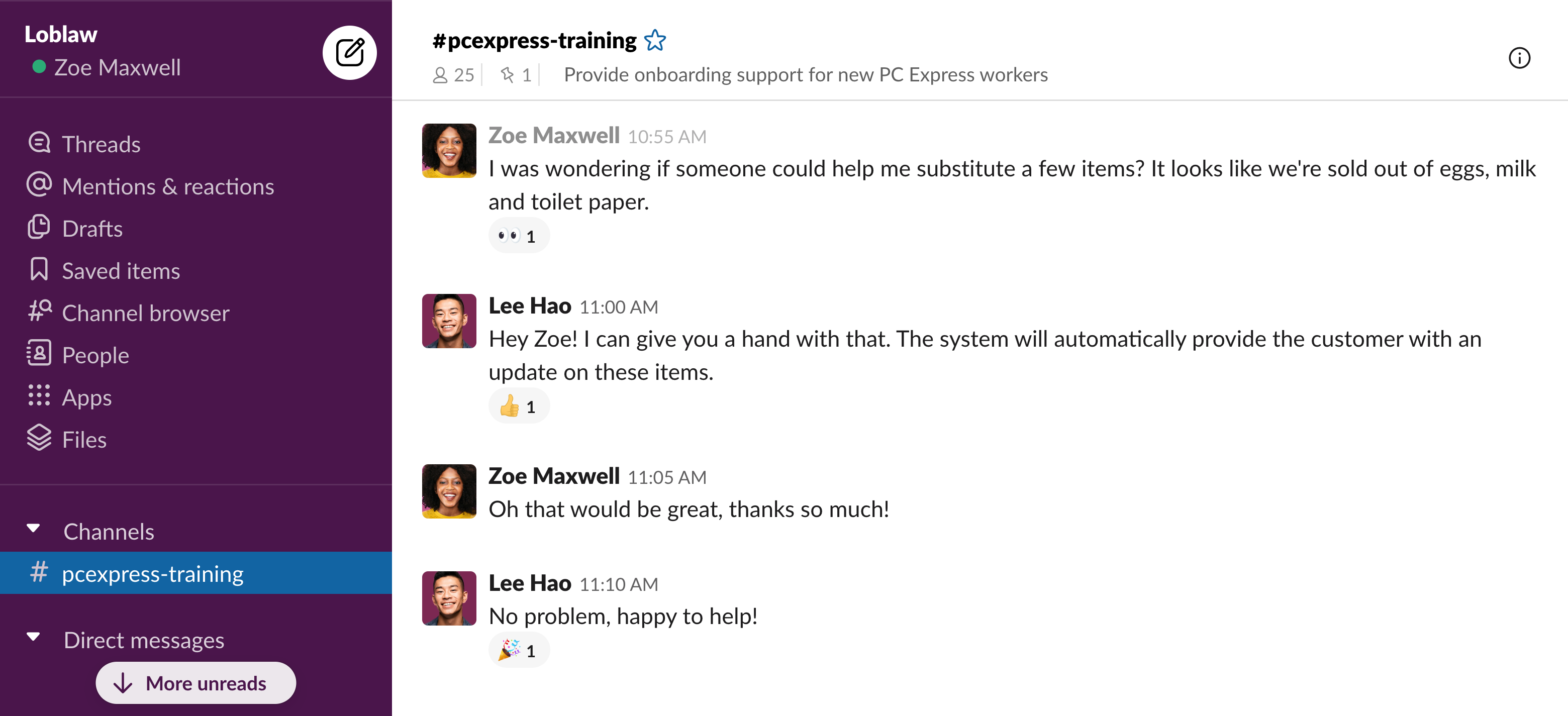 Loblaw PC Express support slack UI