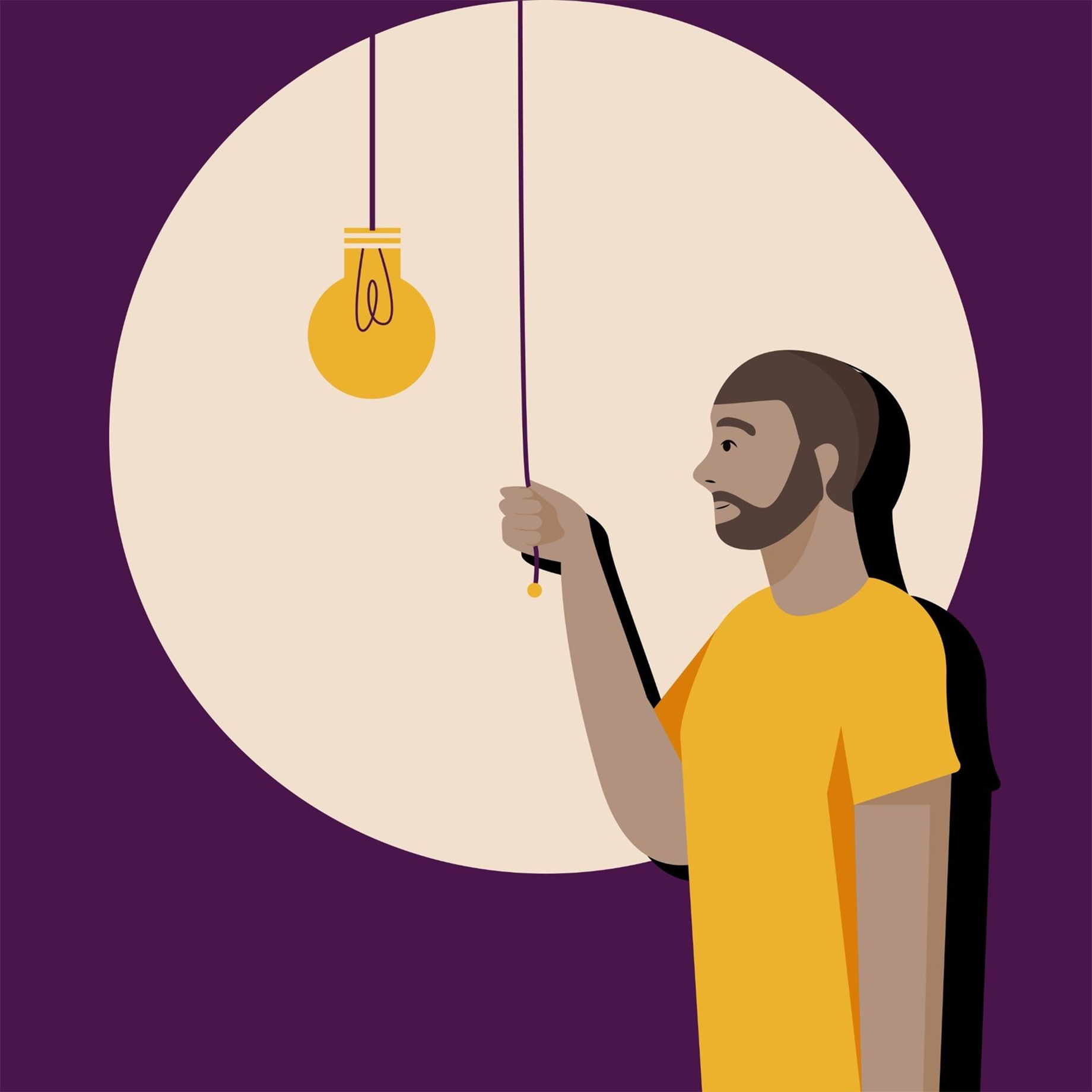 Man turning on the light to productivity