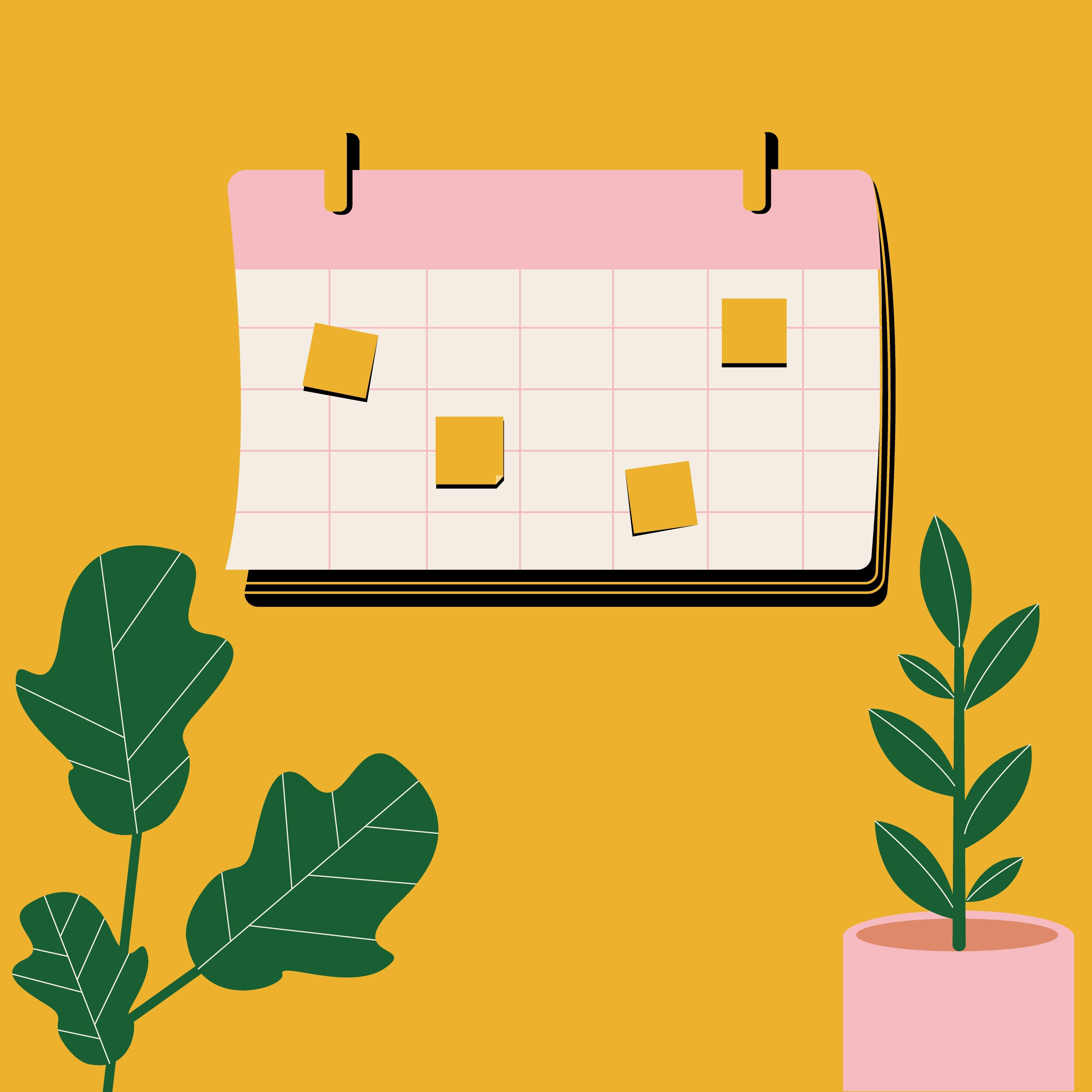 Calendar with sticky tabs