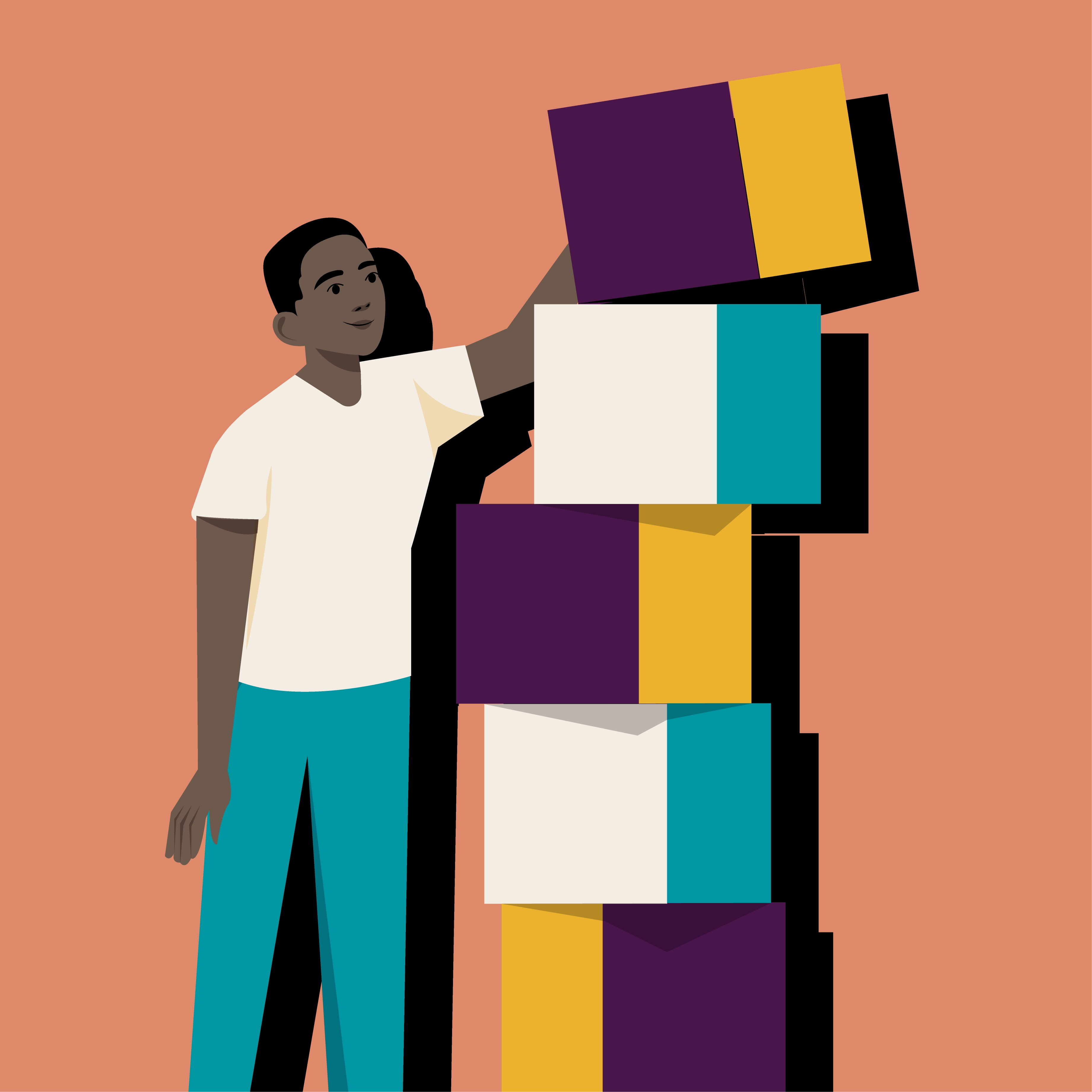 Man stacking blocks on top of each other