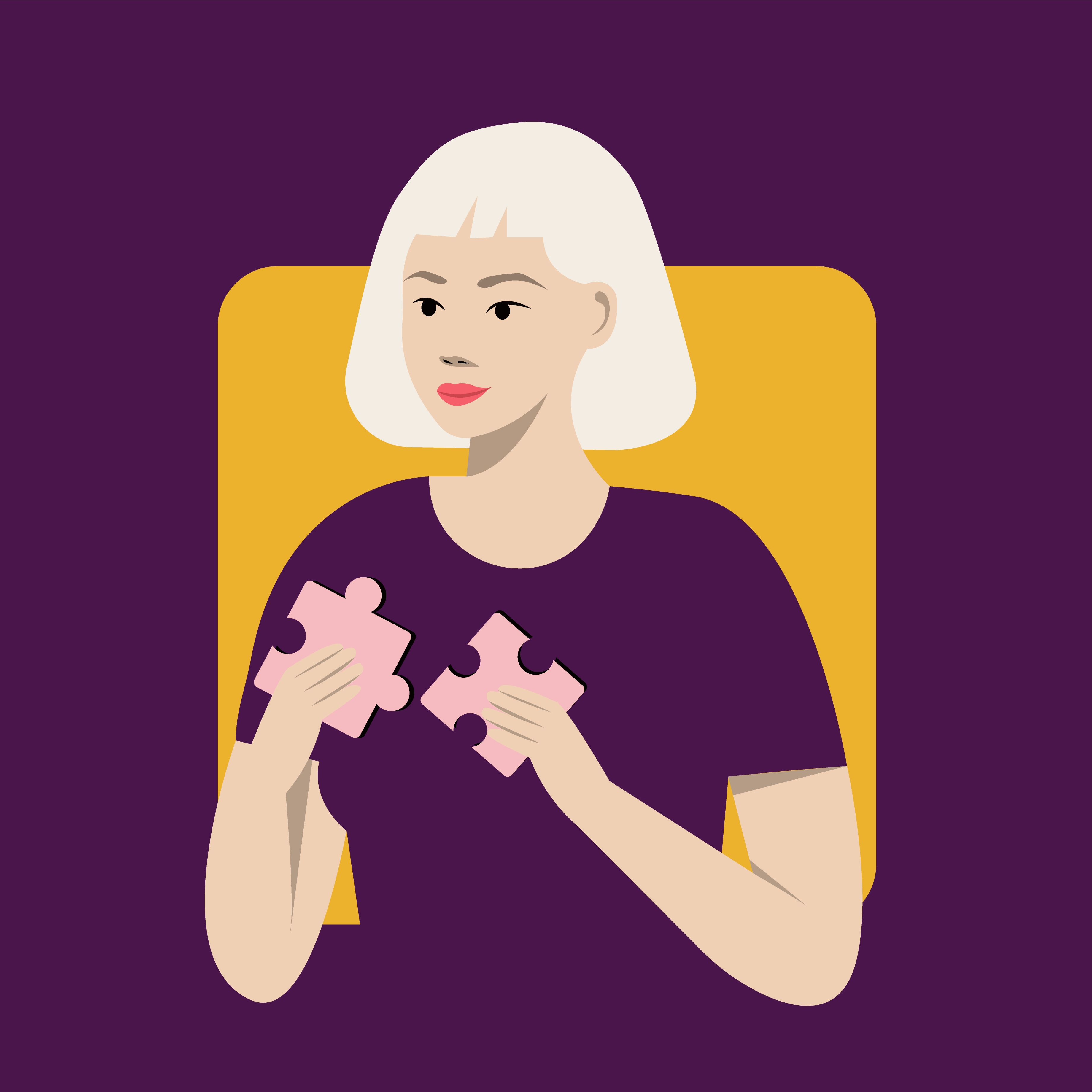 Woman putting two puzzle pieces together