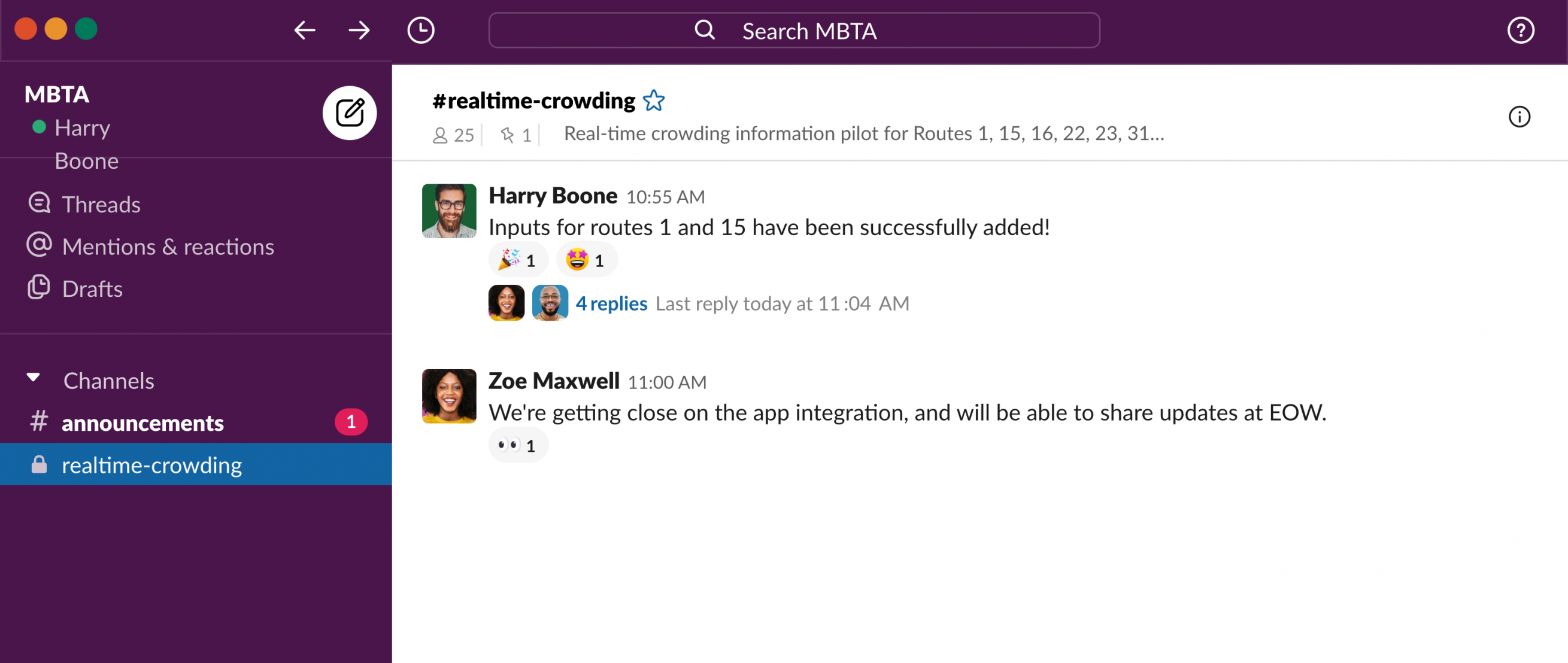 Slack user experience for MBTA real-time project