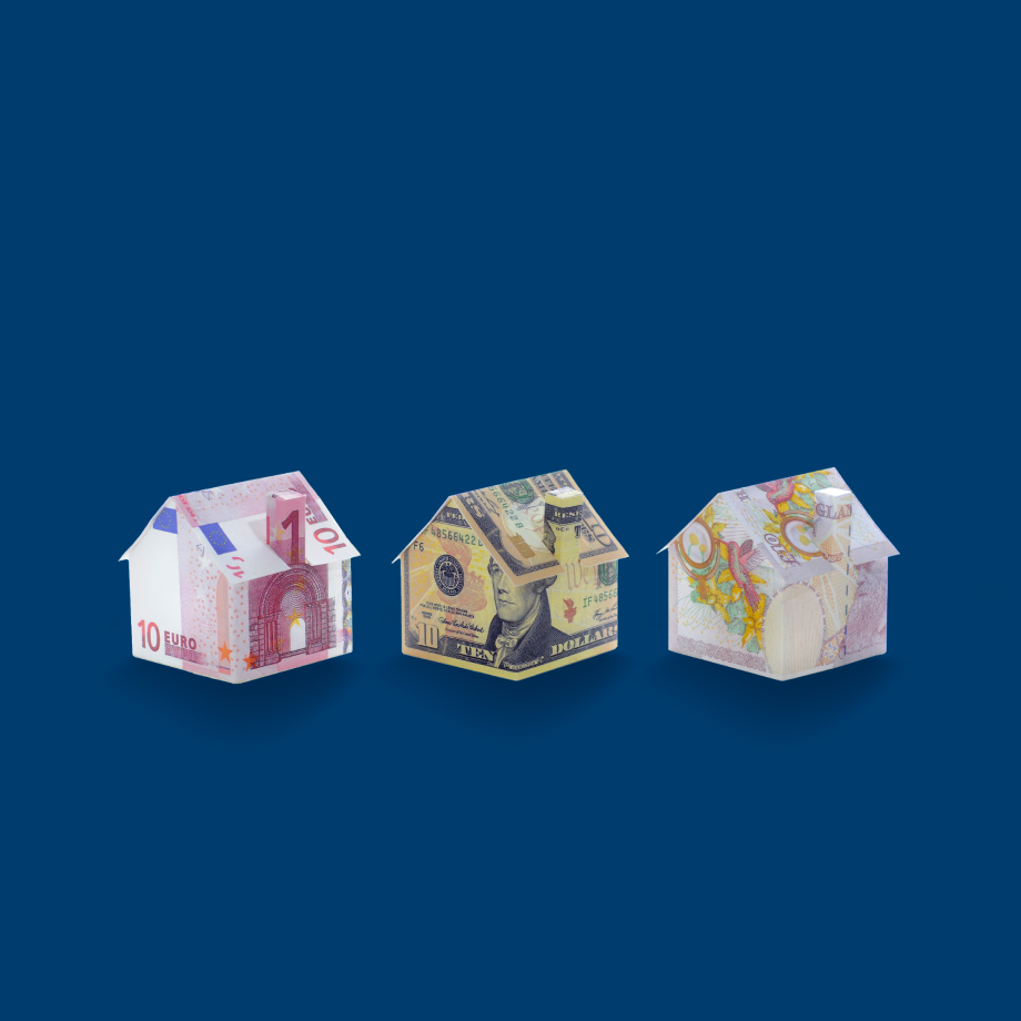 Houses made of different currencies