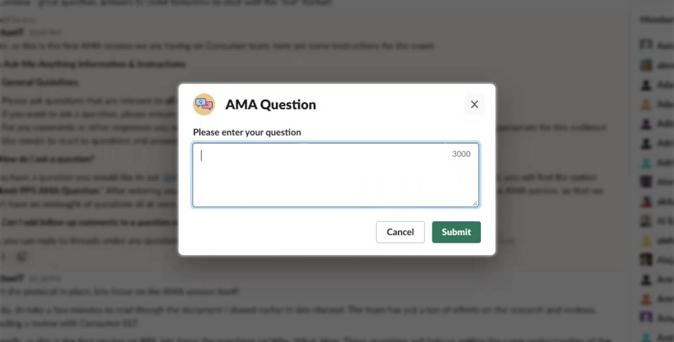 McAfee Slack executive AMA question workflow builder