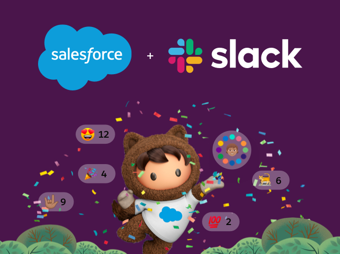 Slack and Salesforce logos against an aubergine background