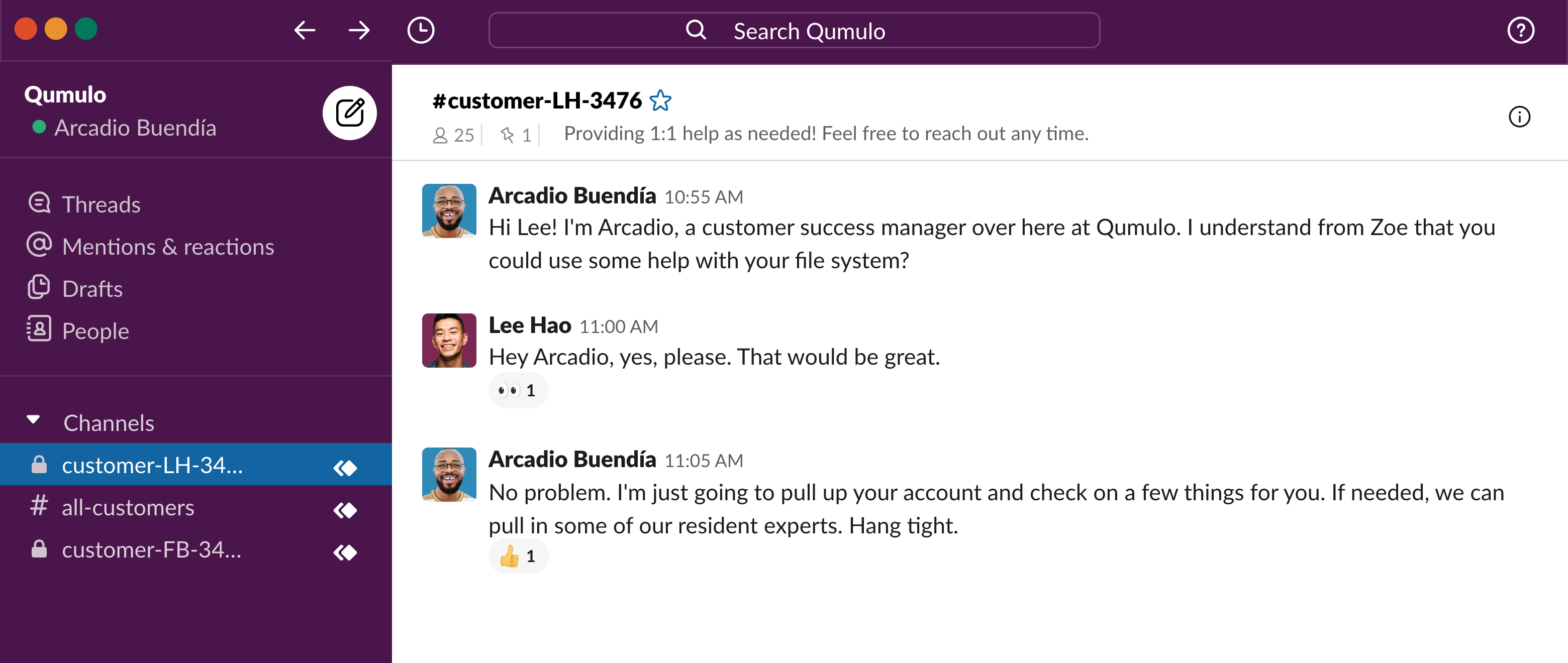 Qumulo one-on-one customer service experience in Slack