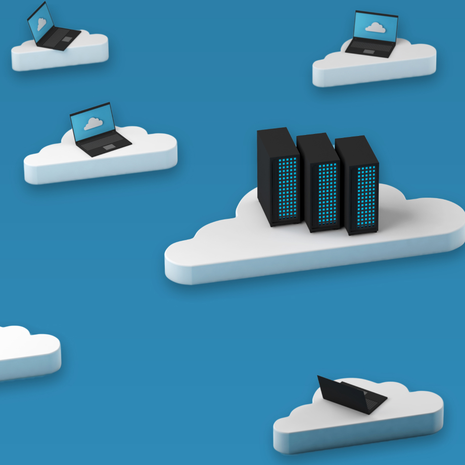 Different tech items being supported by clouds