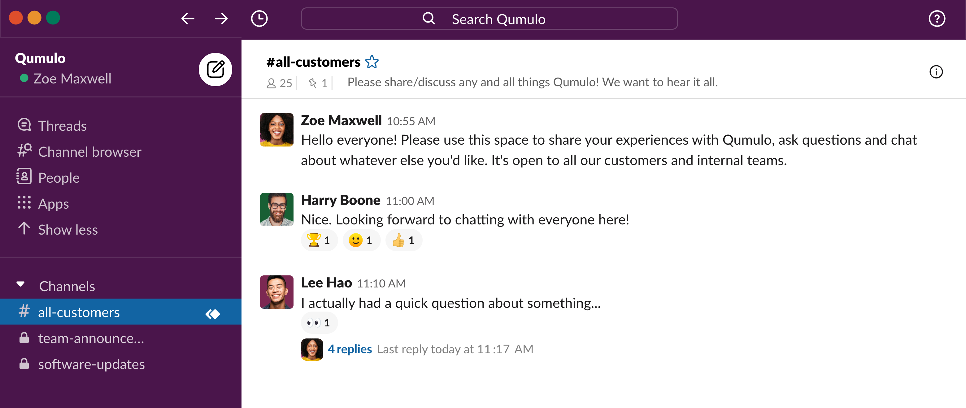 All-customer Slack channel with Qumulo