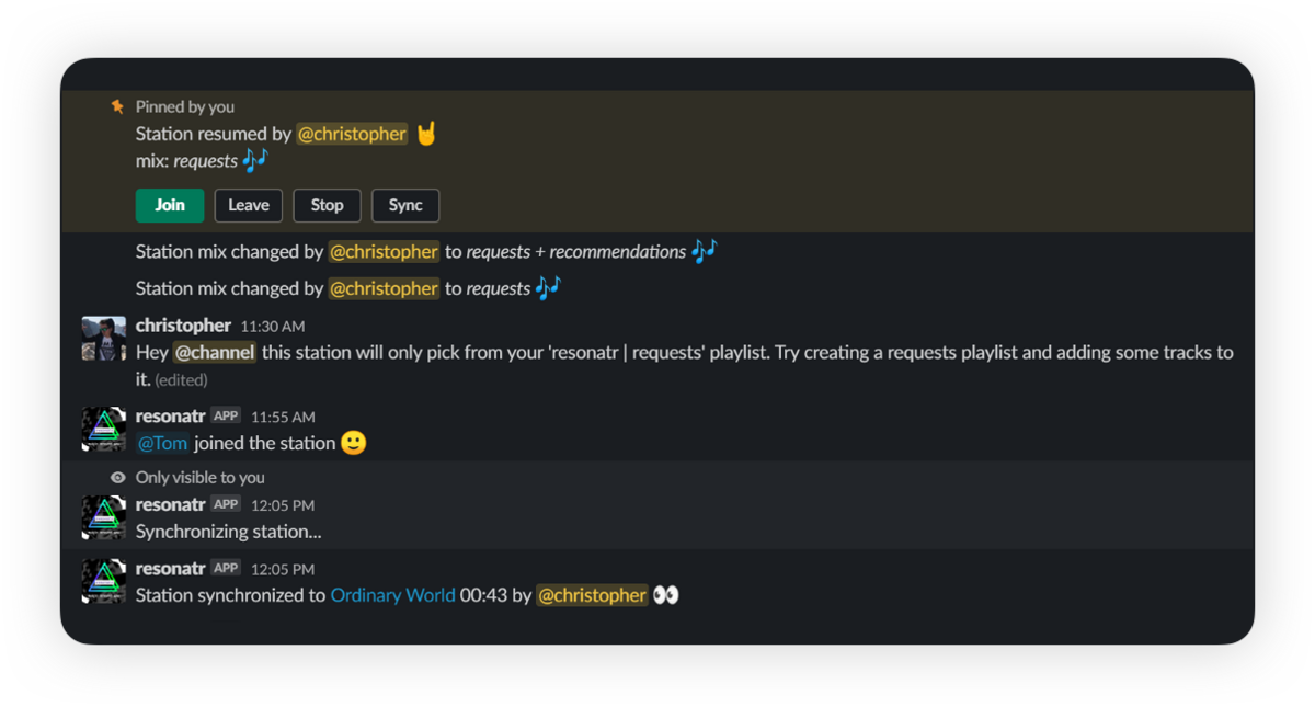 Resonatr UI screenshot