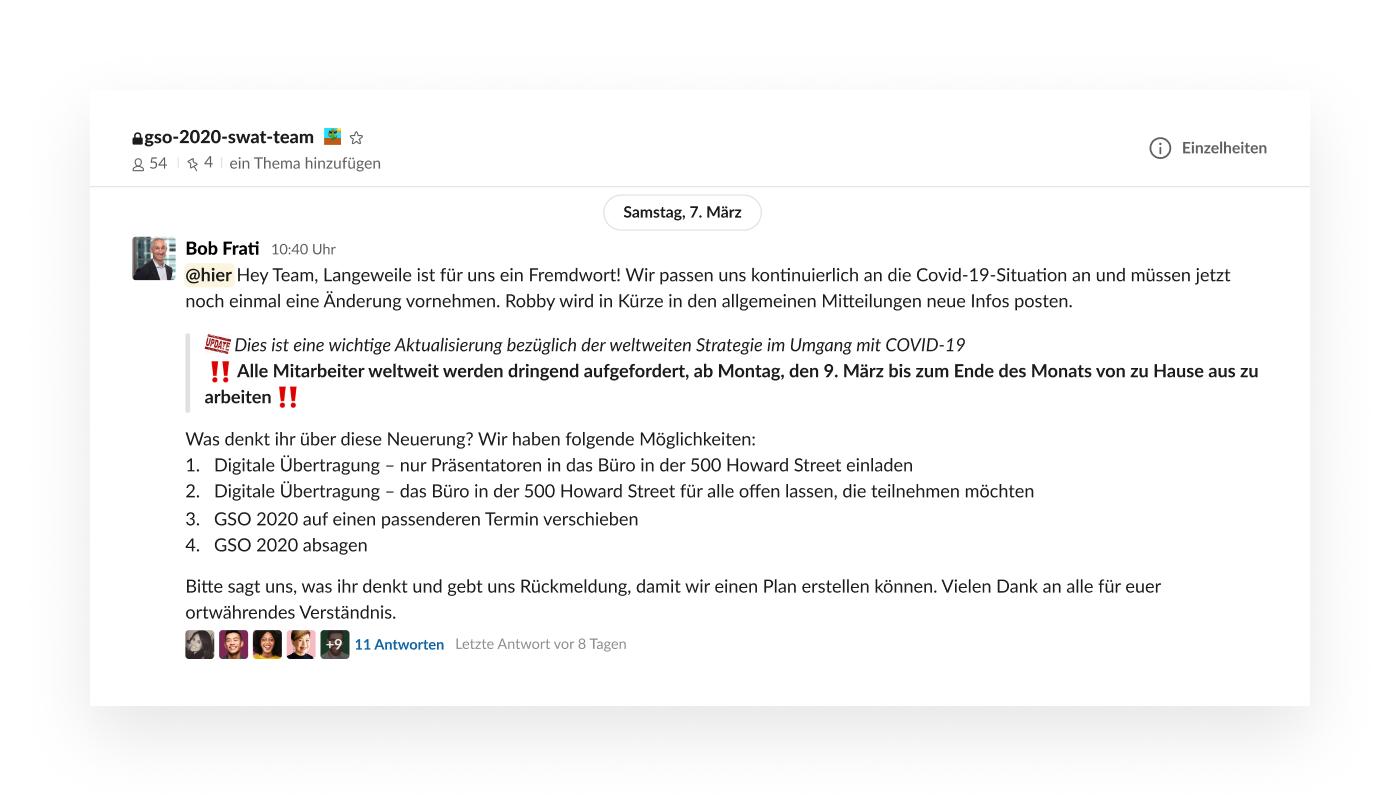 Slack-UI zur Planung digitaler Veranstaltungen