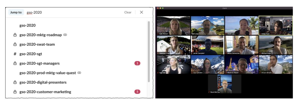 Interface Slack consacrée à l'organisation de l'événement virtuel