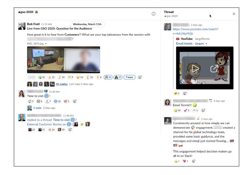 Interface Slack consacrée à l'organisation de notre événement virtuel