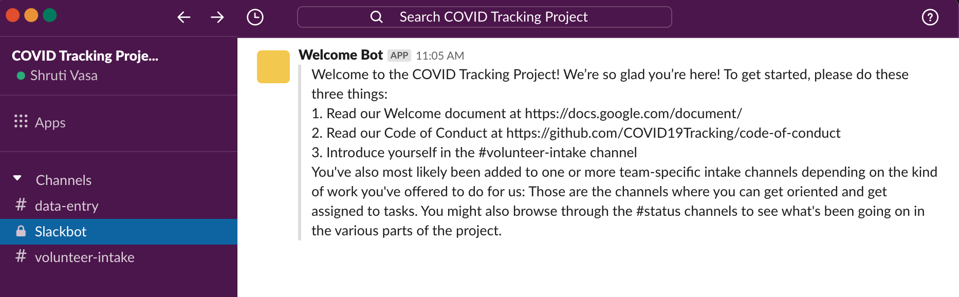 Welcome bot welcoming new volunteer to the COVID Tracking Project