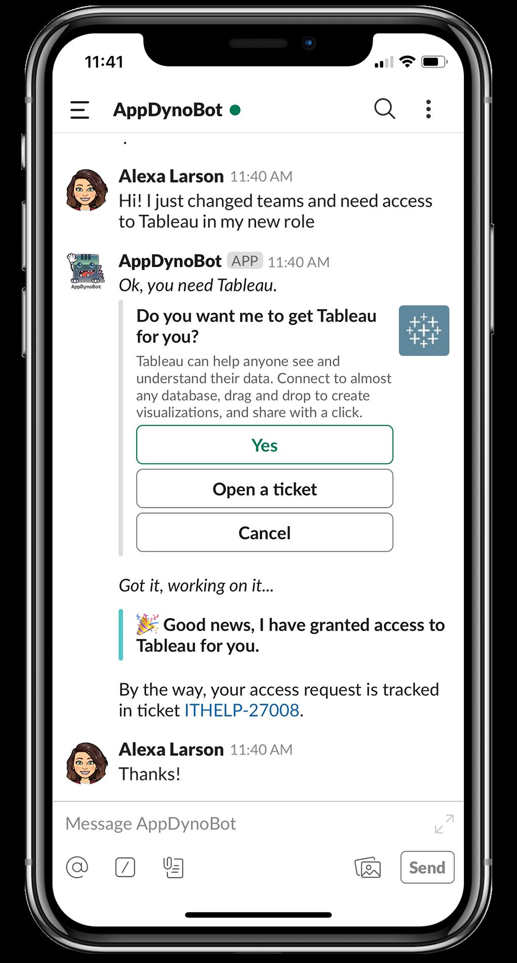 A screenshot of AppDynamic's Moveworks bot for Slack.