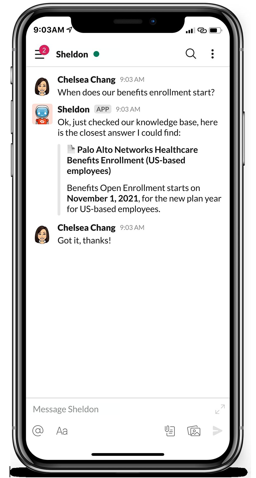 A screenshot of Palo Alto Networks' Moveworks bot for Slack.