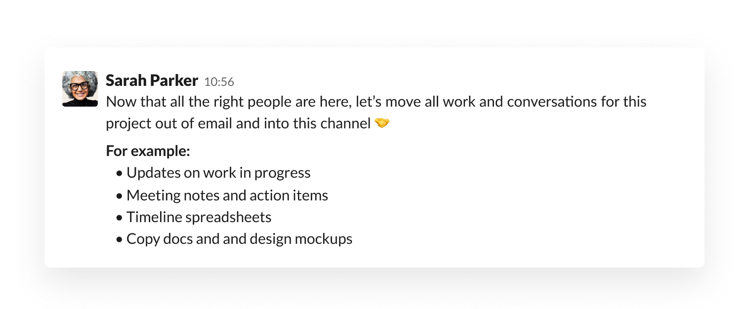 Message setting expectations in a Slack channel