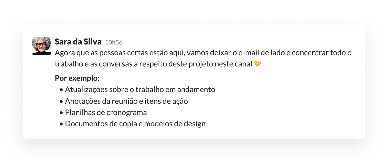 Mensagem com a definição das expectativas em um canal do Slack