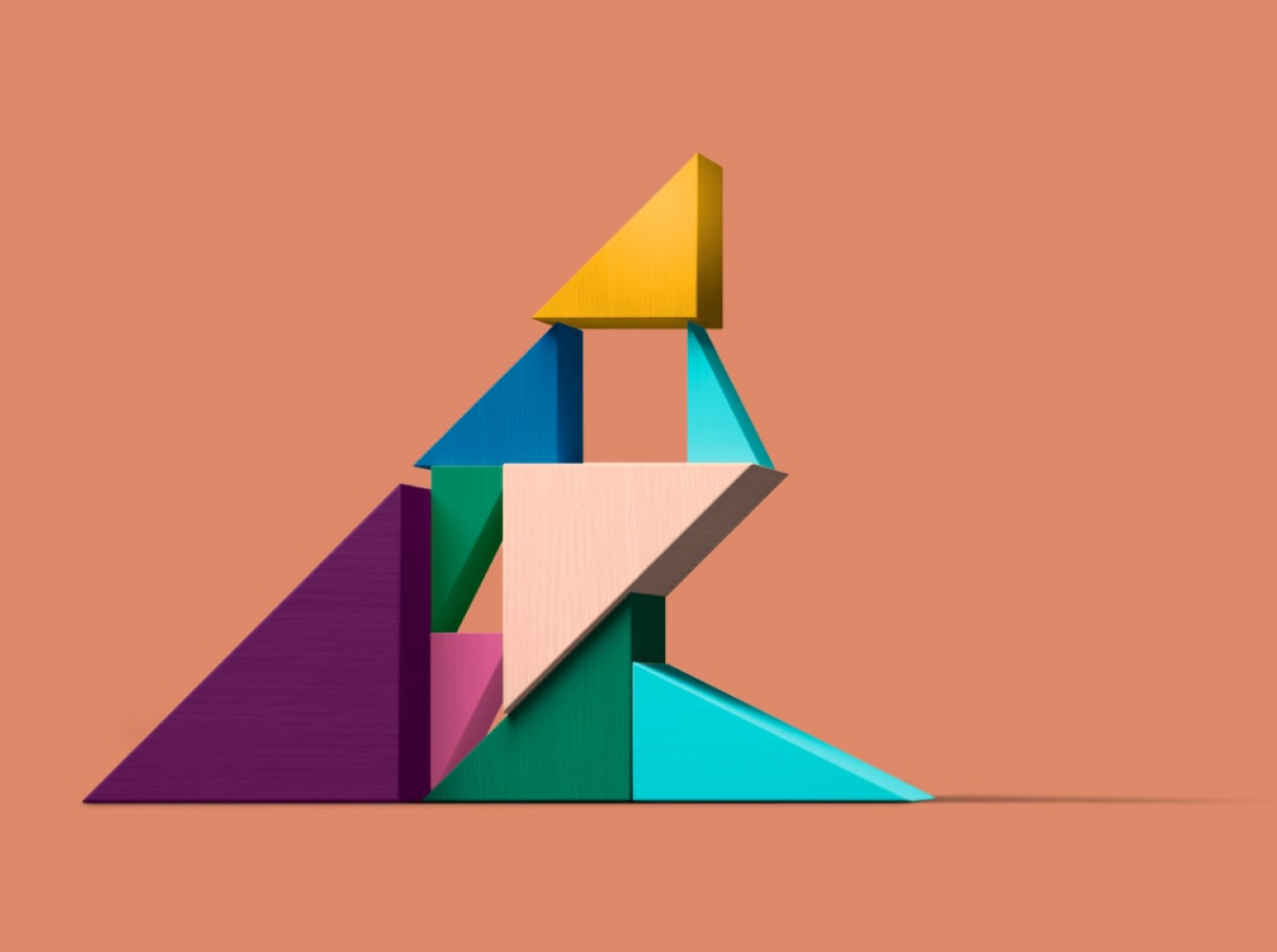 Shapes moving upwards representing change