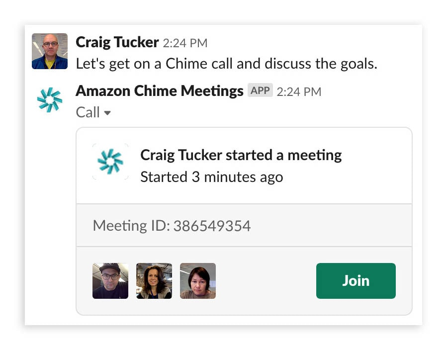 An image of a people communicating in a Slack channel using the Amazon Chime Meetings app for Slack