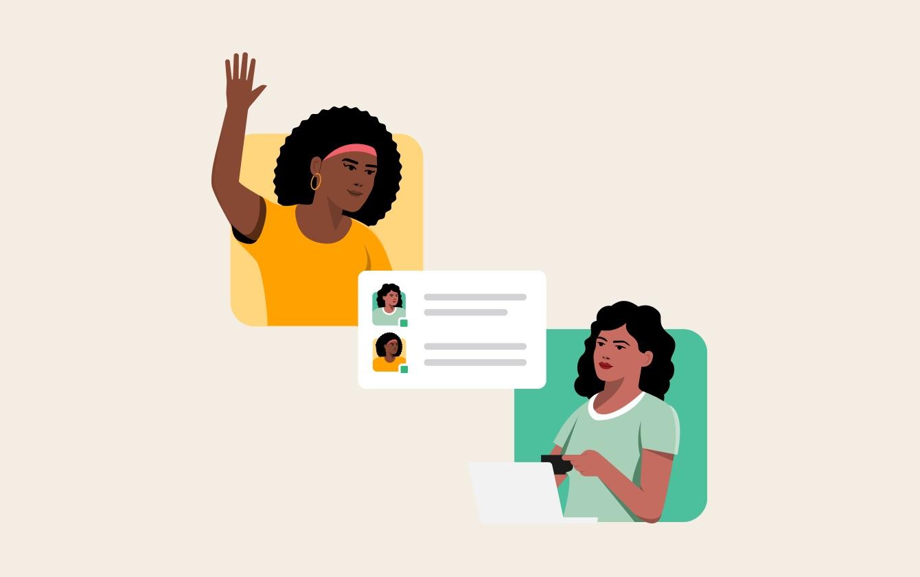 Dos socios externos con un icono de mensaje directo de Slack entre ellos