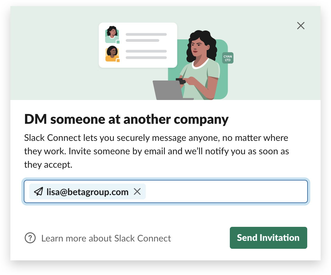 A Slack Connect direct message invitation