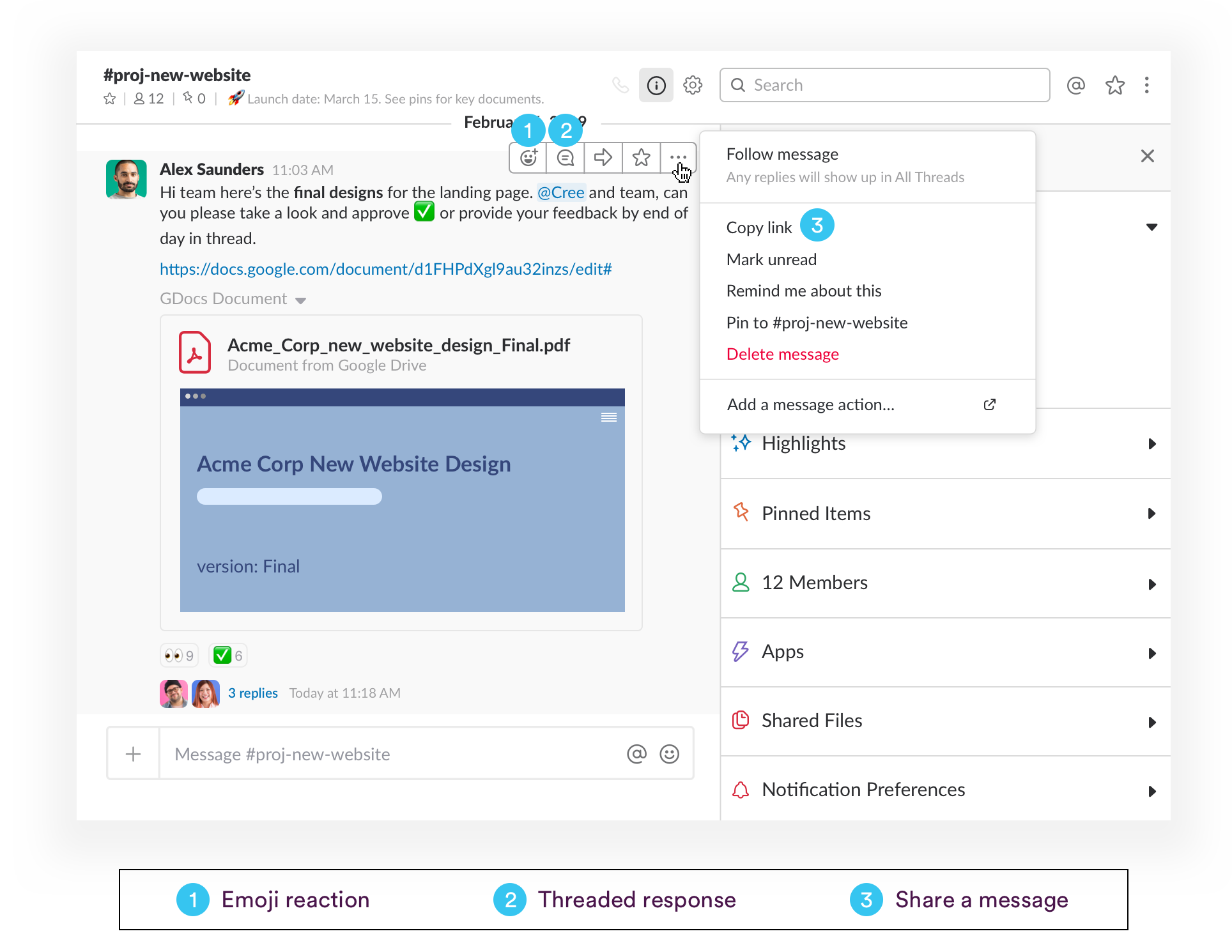 The three ways to handle an incoming message in Slack in the moment