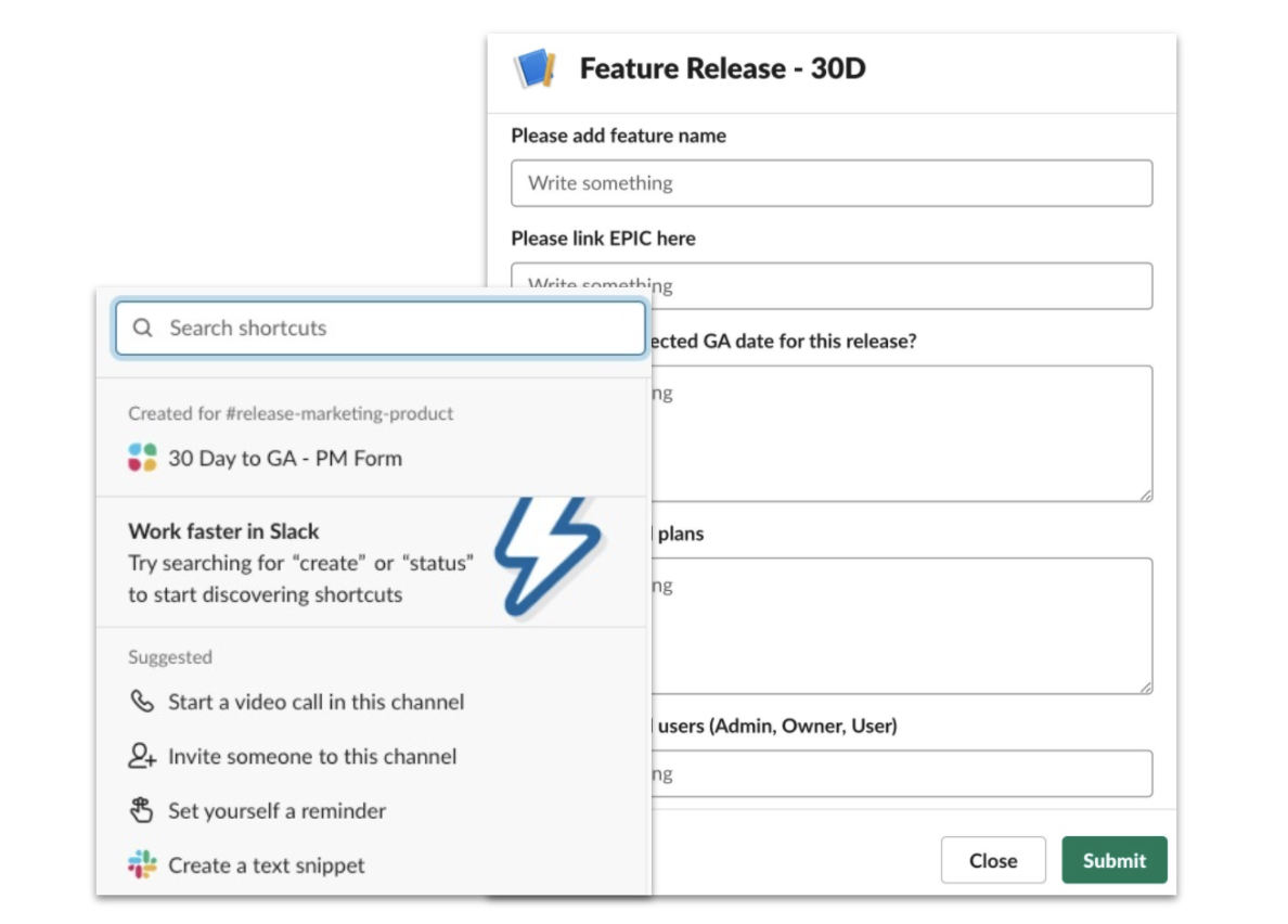 Un ejemplo de un flujo de trabajo creado para ayudar a notificar y alinear a todos alrededor de los lanzamientos de funciones