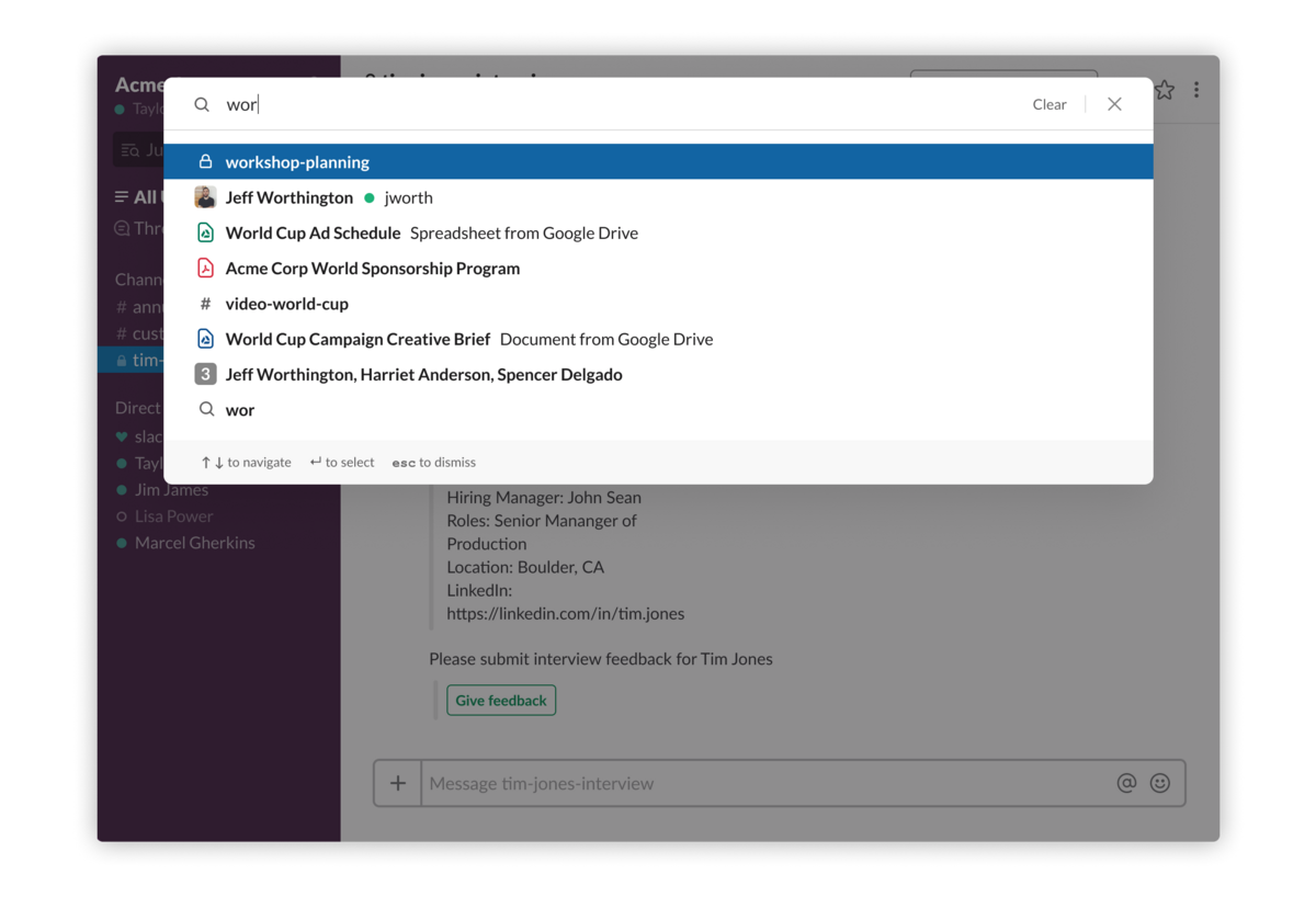 Search in Slack received yet another upgrade: Now it shows both search results for channels, files and people as well as a list of unread messages and DMs to help you navigate to the information you need faster.
