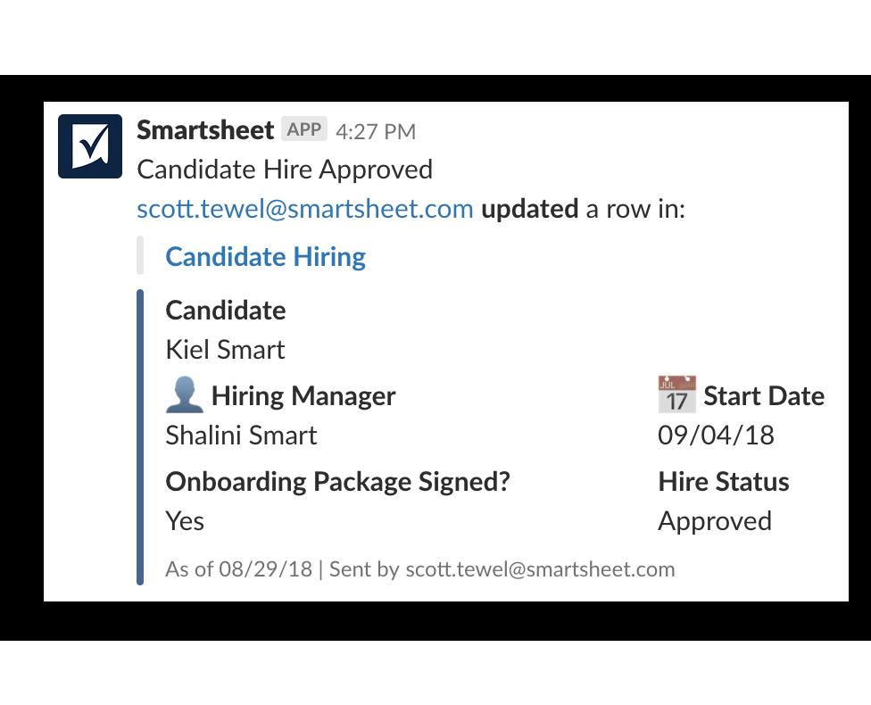 Smartsheet Notification screensho
