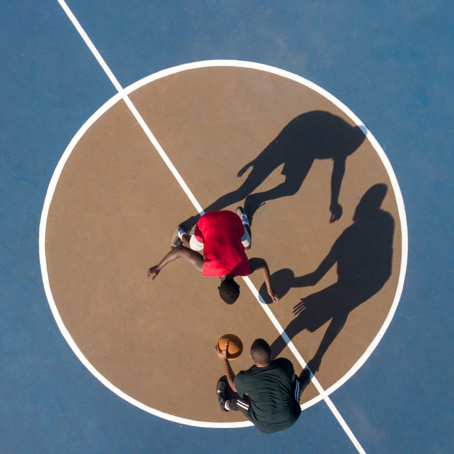 Aerial shot of one-on-one basketball