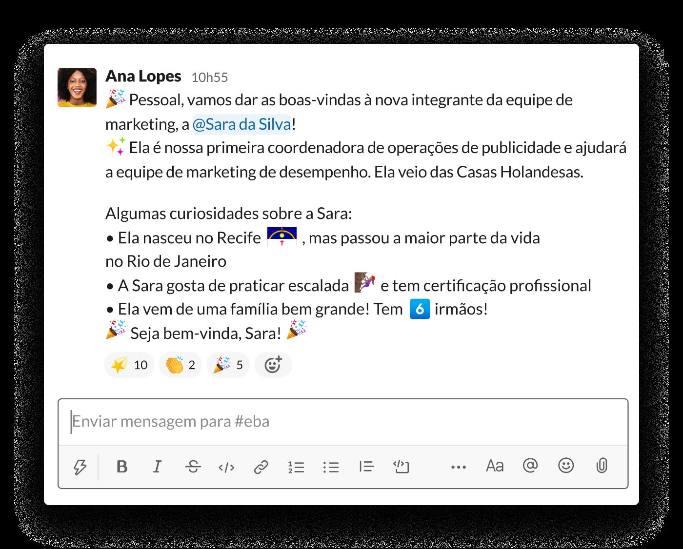Uma gerente apresenta um novo membro da equipe no canal do Slack #apresentações