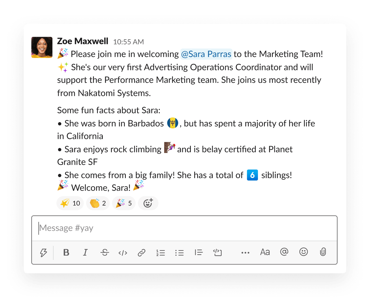 A manager introduces the newest member of her team in an #intros Slack channel