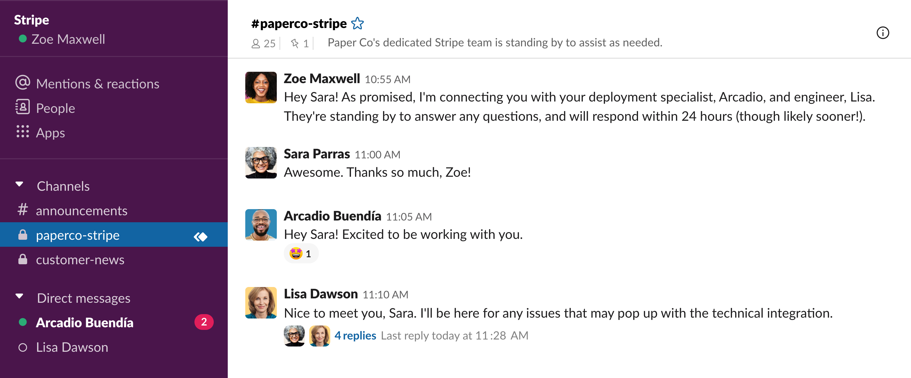 Slack channel between customer and Stripe