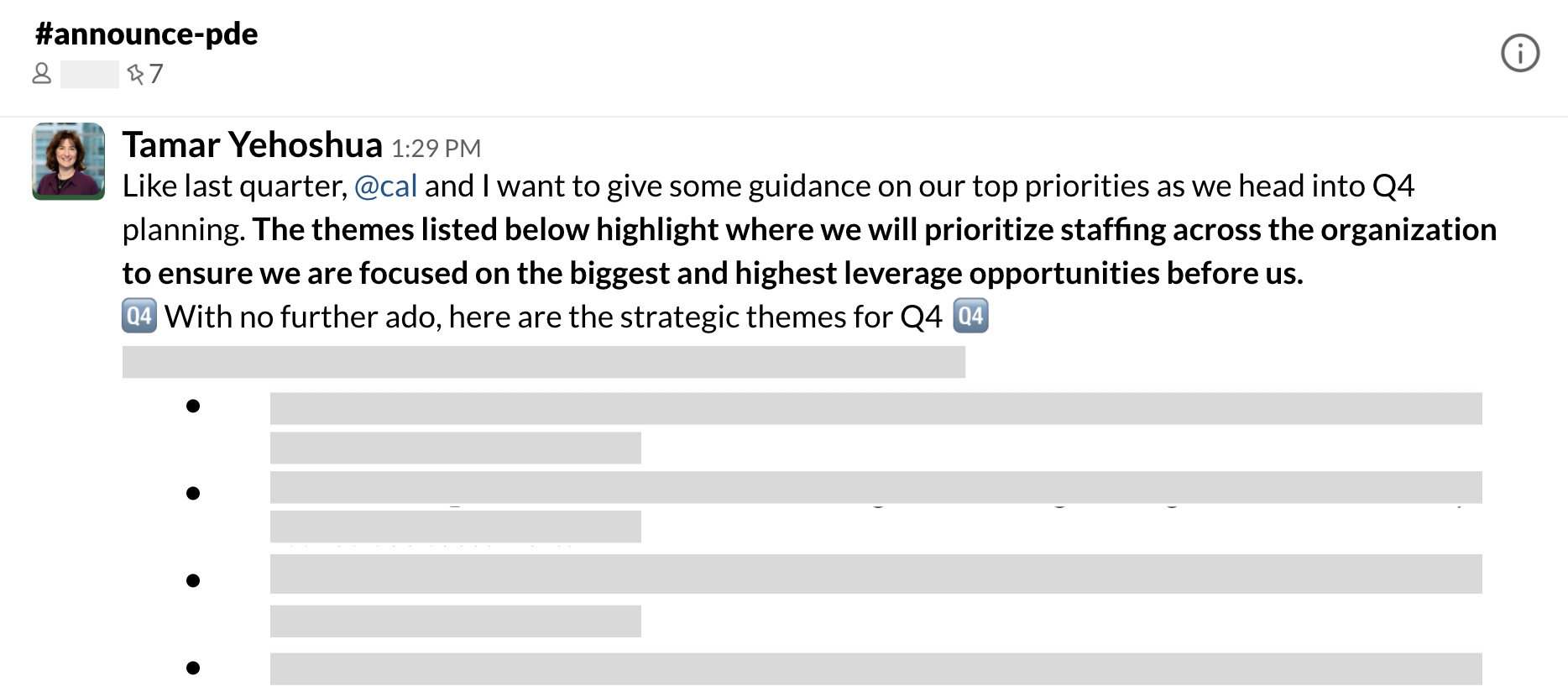 Example of a channel message to large team on quarterly priorities