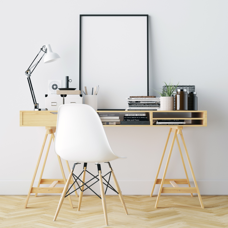 Clean and peaceful work from home desk setup