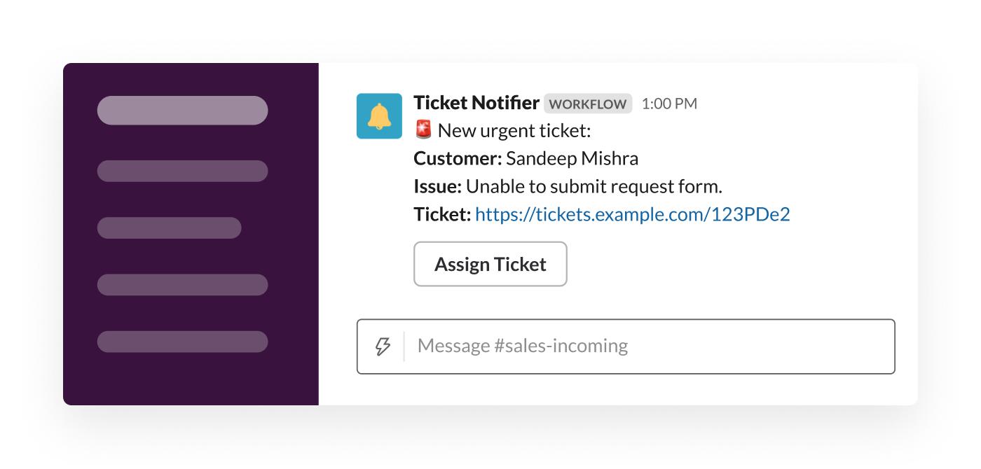 A webhook sends a ticket into Slack through Workflow Builder