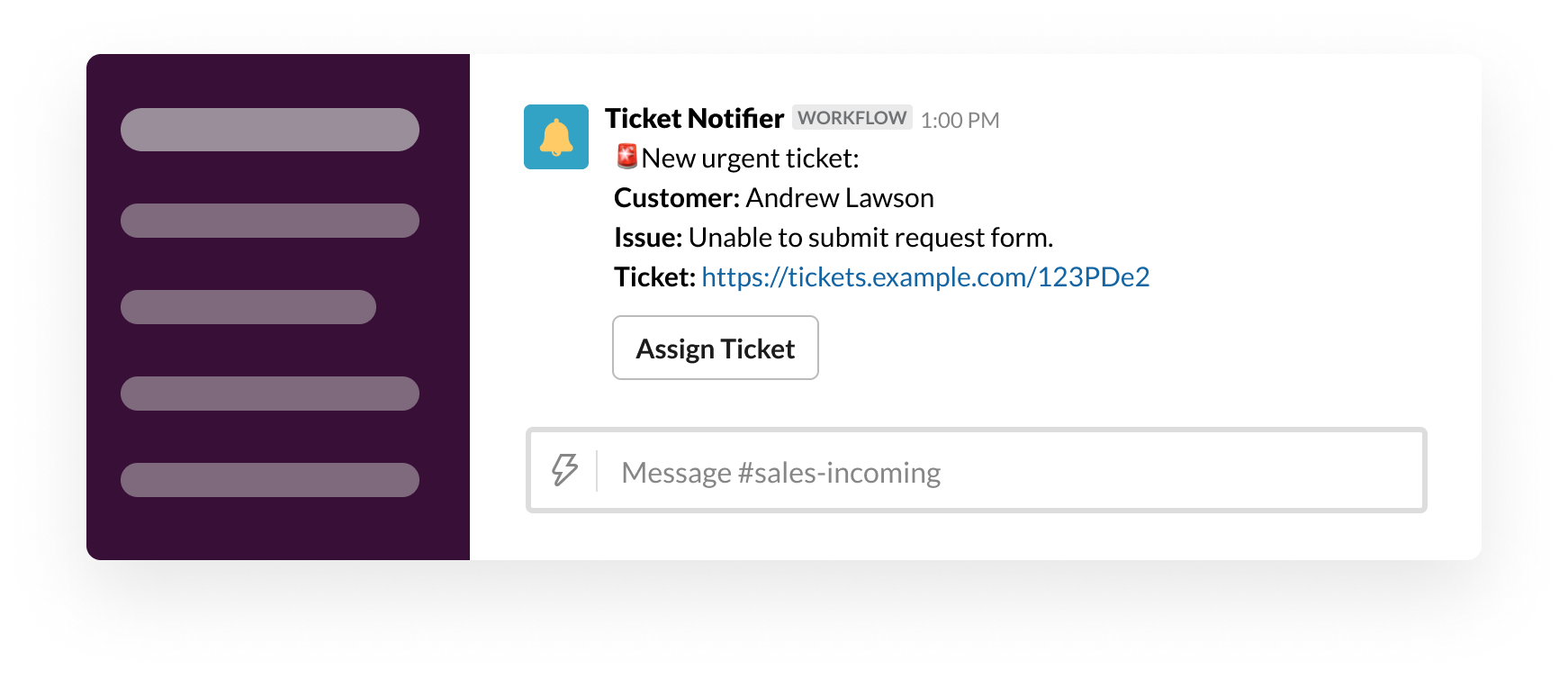 A webhook sends a ticket into Slack through Workflow Builder