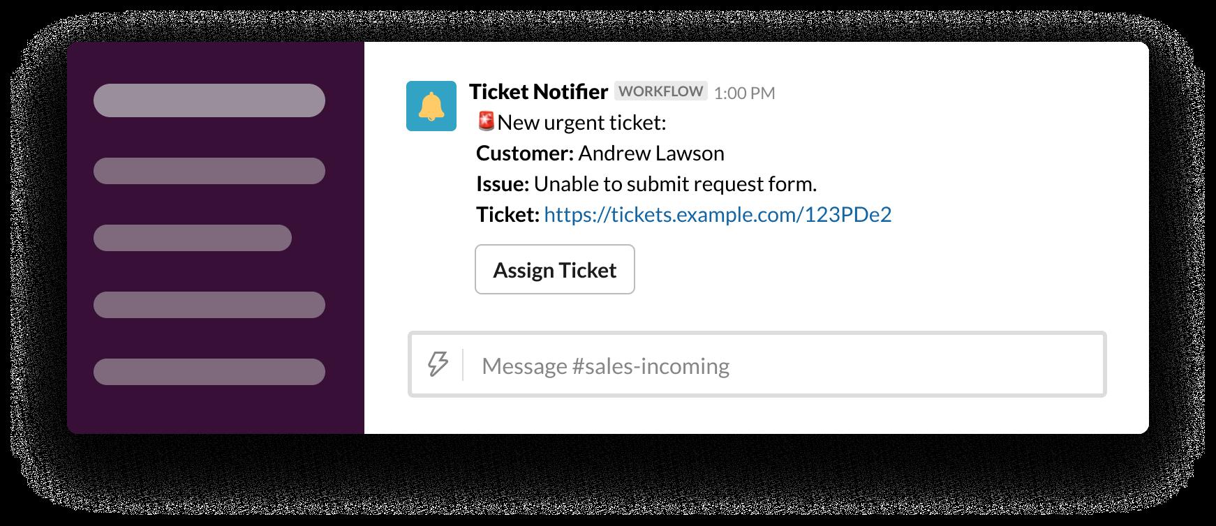Un webhook envoie un ticket dans Slack via le générateur de flux de travail
