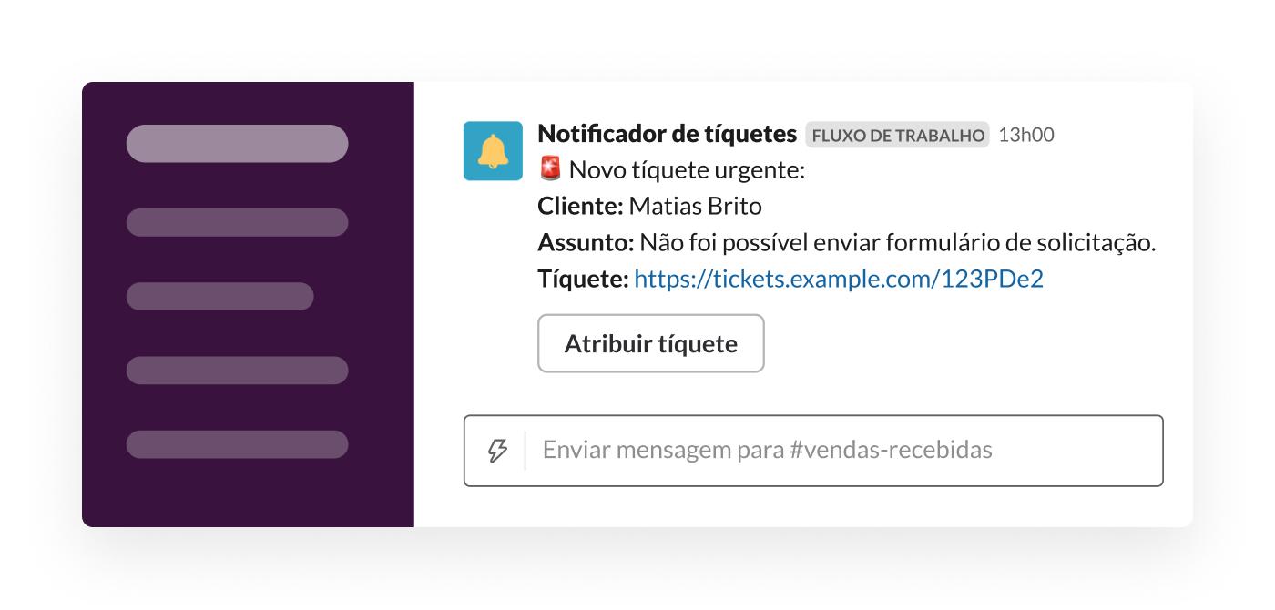 Um webhook envia um tíquete para o Slack por meio do criador de fluxo de trabalho