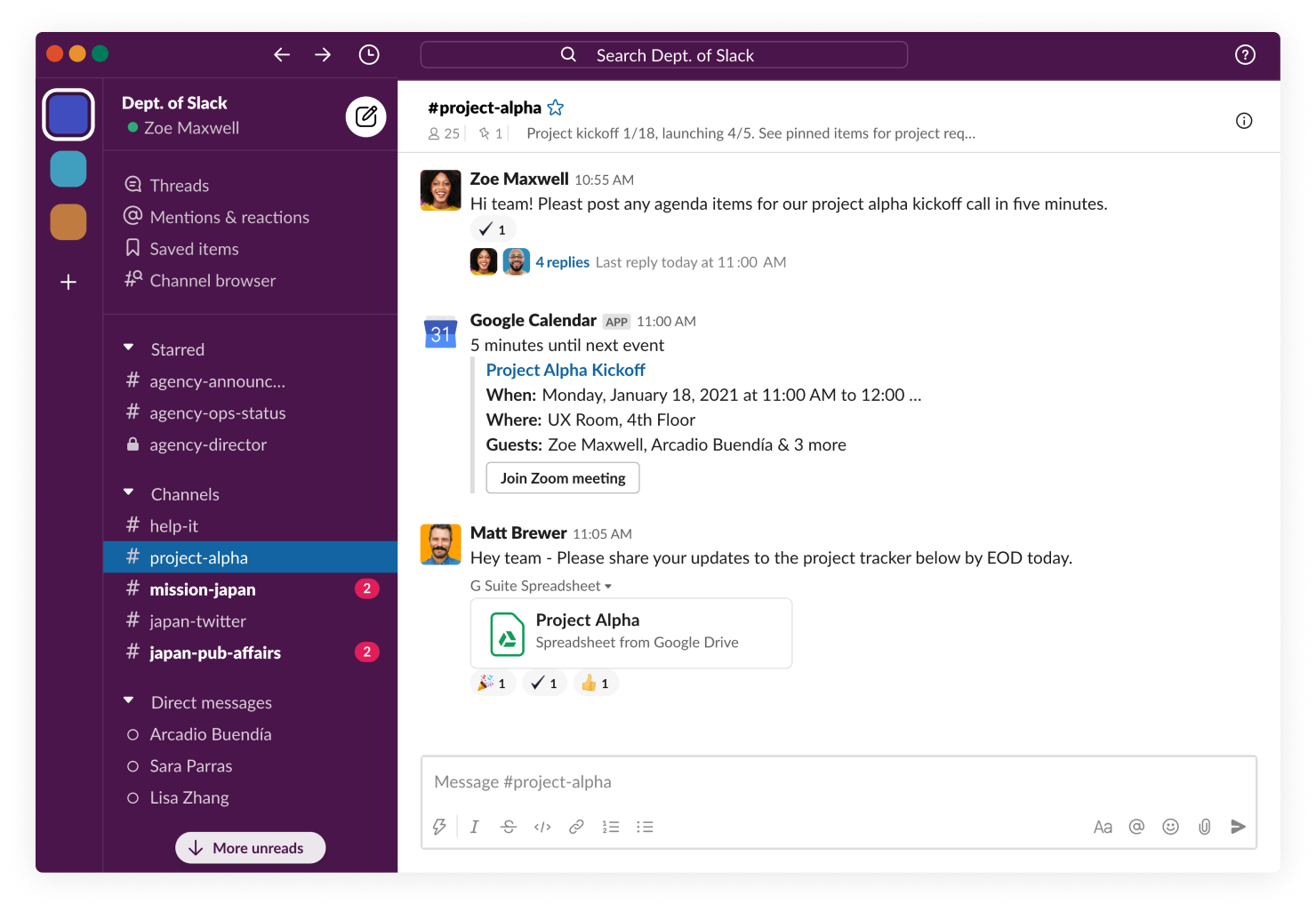 Slack interface with channels and team messages
