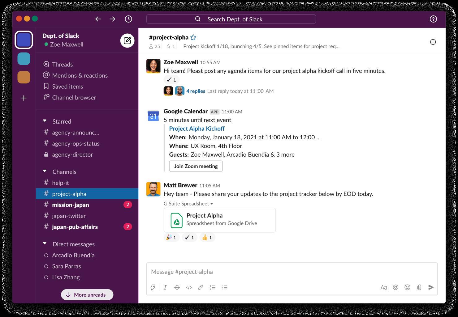 Interfaz de Slack con canales y mensajes de equipo