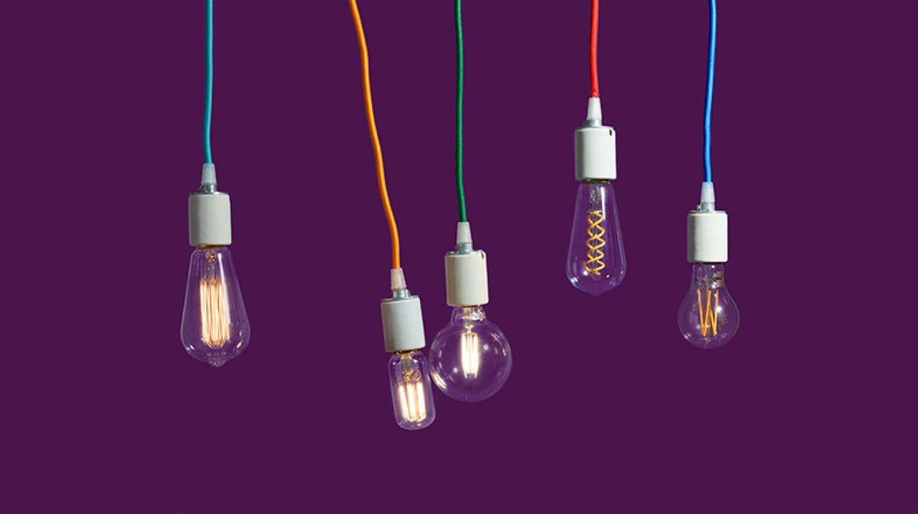 Hanging lightbulbs representing ideas