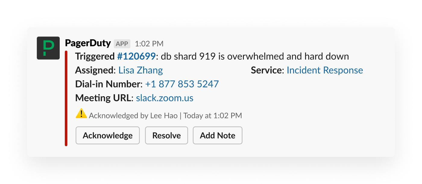 A PagerDuty alert in Slack