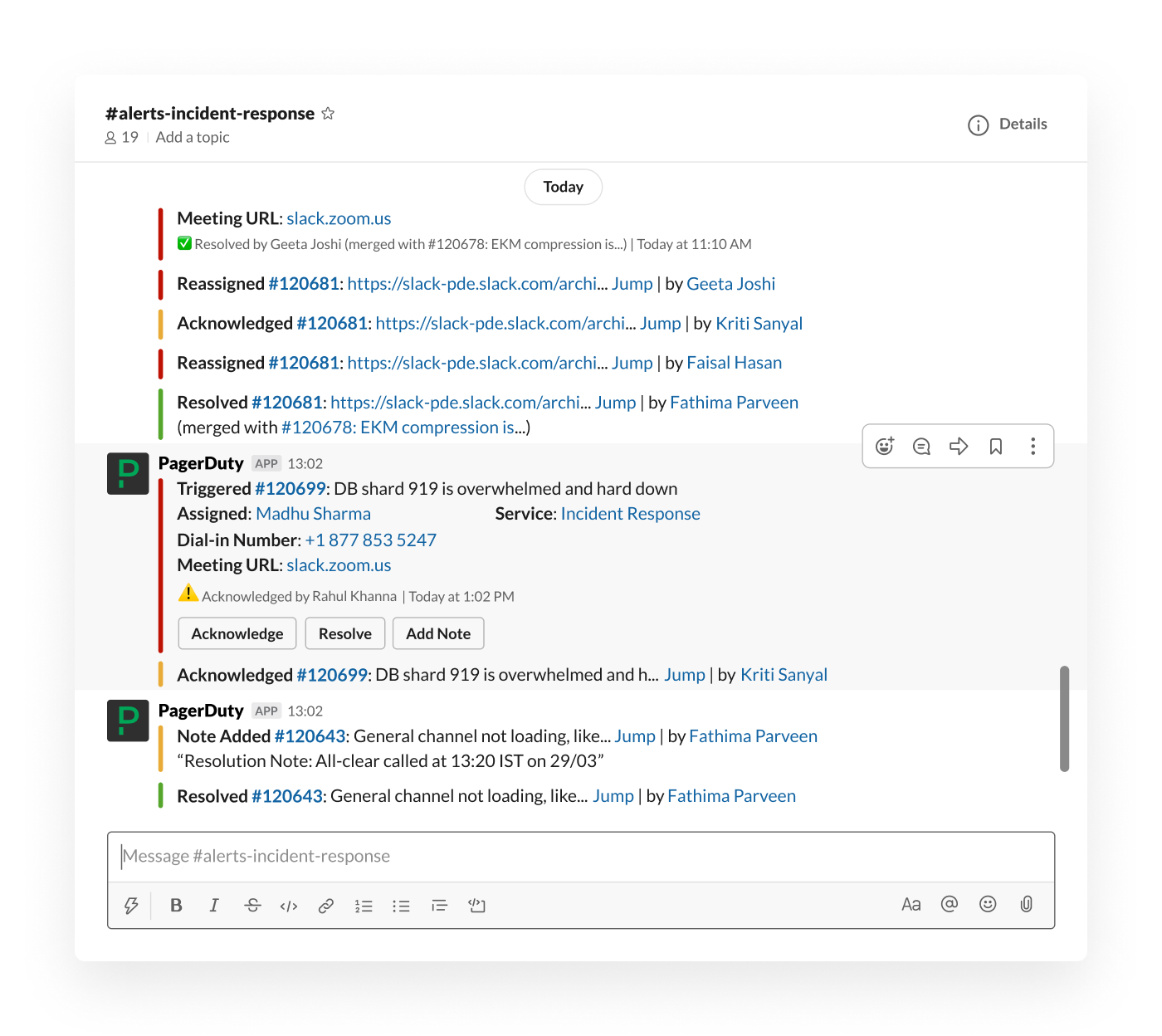 PagerDuty integration in Slack posting into channel