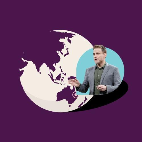 Globe featuring APAC region with Slack CEO