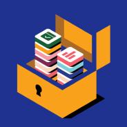 Logotipos de la aplicación en el box de candado abierto
