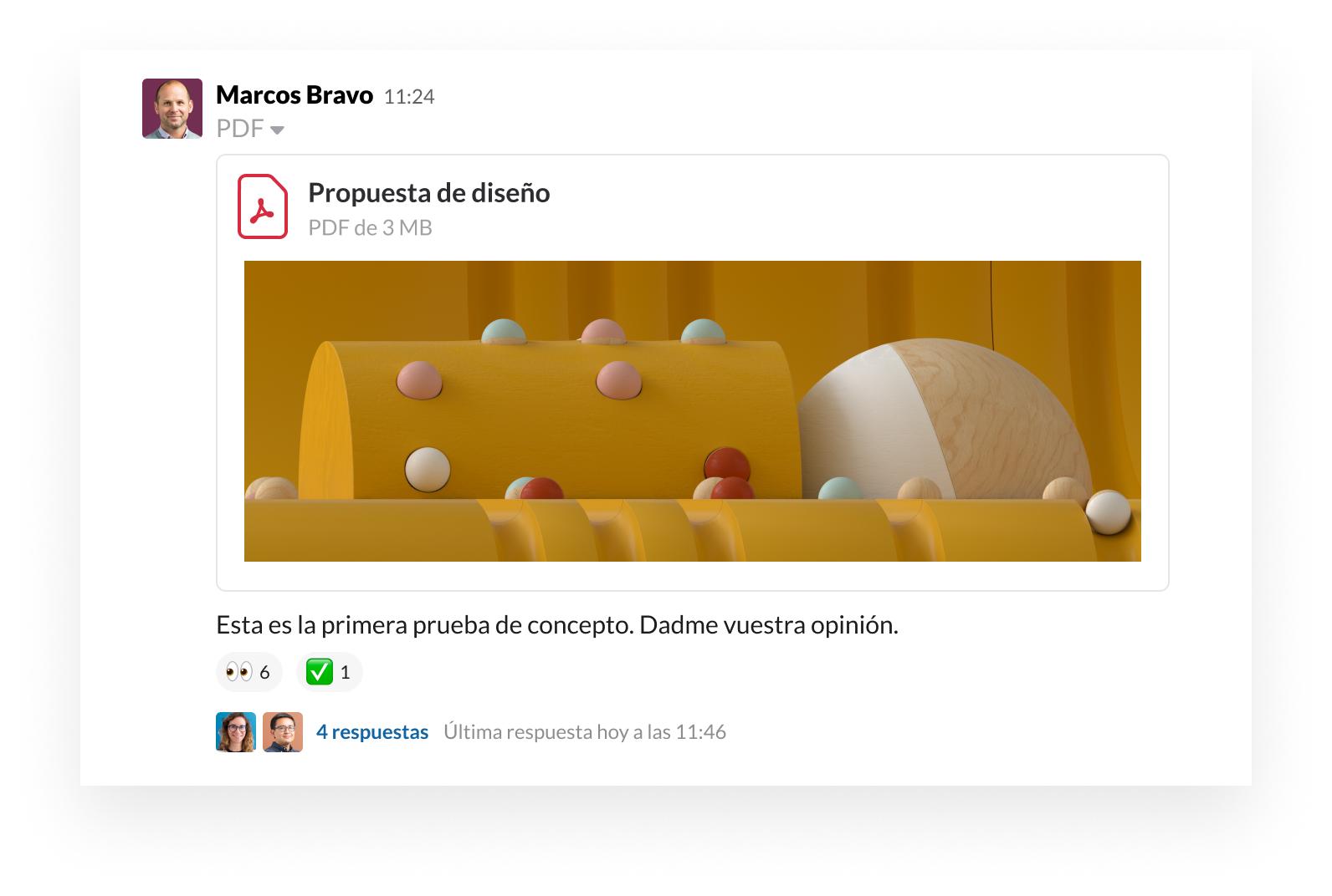 Interfaz de usuario del producto de Slack que muestra cómo compartir un archivo y proporcionar comentarios