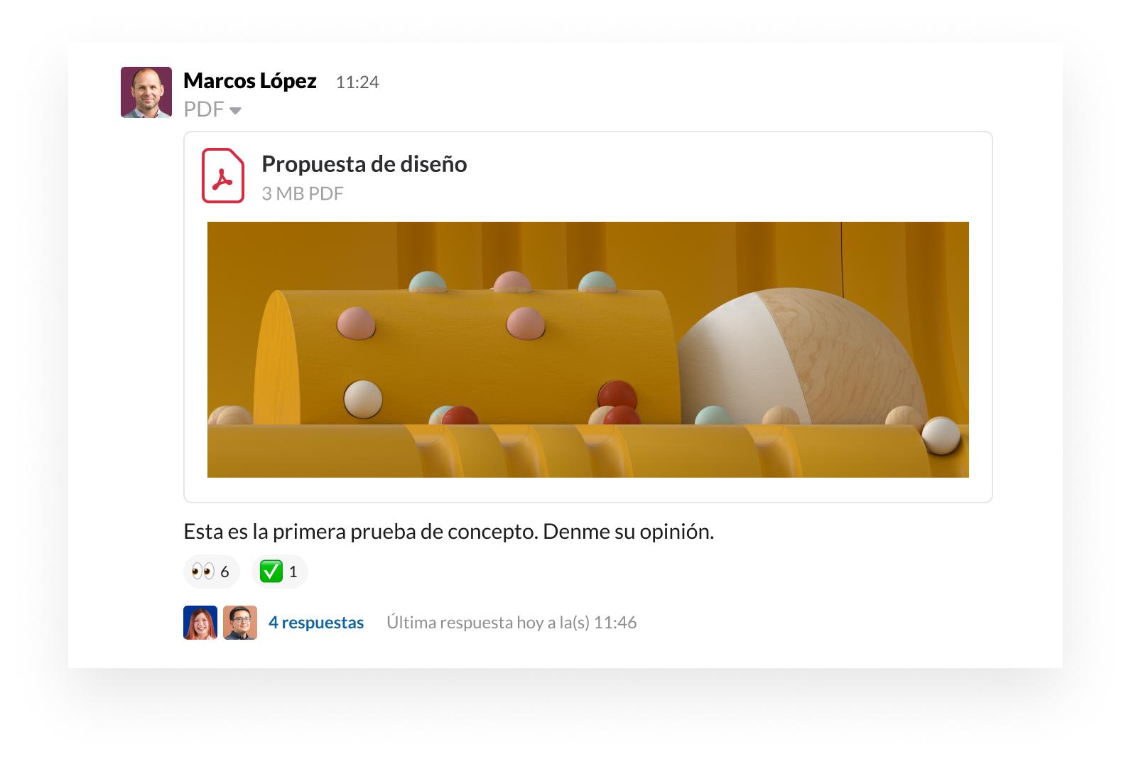 Interfaz de usuario del producto Slack mostrando cómo compartir un archivo y proporcionar comentarios