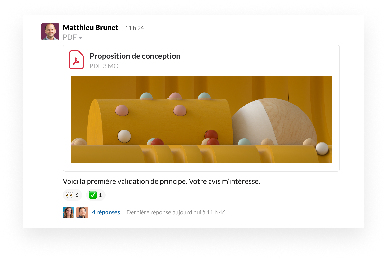 Interface de produit Slack qui montre comment partager un fichier et donner son avis